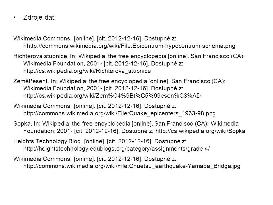 Zdroje dat: Wikimedia Commons. [online]. [cit. 2012-12-16]. Dostupné z: hhttp://commons.wikimedia.org/wiki/File:Epicentrum-hypocentrum-schema.png.